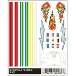 Pinecar Stripes and Flames Dry Transfer Decals - WOO307
